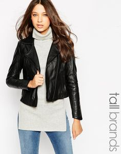 Y.A.S Tall Linear Detail Leather Biker Jacket