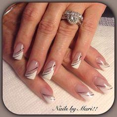 latest and hottest french nail art designs ideas 2019 17 Cute Acrylic Nails, Acrylic Nail Designs, Nail Art Designs, French Tip Nail Designs, French Nail Art, French Manicure Nails, French Tip Nails, Nagellack Design, Sparkle Nails