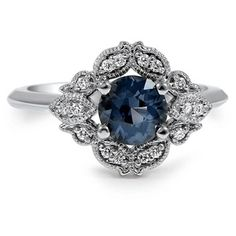 Embellished Sapphire Halo Ring, top view