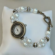 Crystal Dawn Pearl, Crystal & Diamante Antique Bronze Plated Watch £16.50