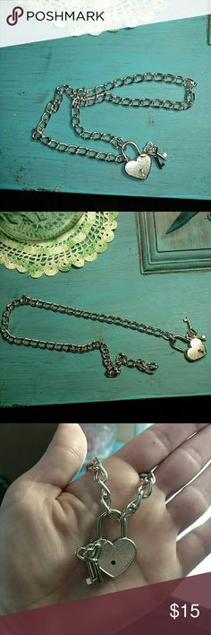 Necklace NWOT ..Heart and key padlock necklace Jewelry Necklaces