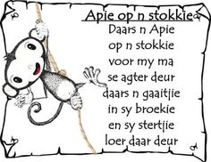 Afrikaans - apie op n stokkie Preschool Songs, Classroom Activities, Animals Name In English, Afrikaans Language, Classroom Expectations, Kids Poems, Children Songs, Rhymes For Kids, Kindergarten Lessons