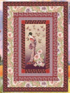 geisha garden Japanese Quilt Patterns, Japanese Quilts, Panel Quilts, Quilt Blocks, Asian Crafts, Attic Window Quilts, Asian Quilts, Geisha, Colorful Quilts