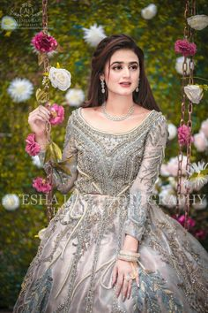 in this bridal look. in this bridal look. Pakistani Party Wear Dresses, Bridal Mehndi Dresses, Walima Dress, Pakistani Wedding Outfits, Bridal Dress Design, Pakistani Dress Design, Bridal Outfits, Pakistani Bridal Hairstyles, Pakistani Bridal Makeup