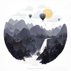 Roundscape II, an art print by Fil Gouvea Art And Illustration, Illustrations, Arte Inspo, Graphisches Design, Oeuvre D'art, Painting Inspiration, Painting & Drawing, Watercolor Paintings, Watercolour
