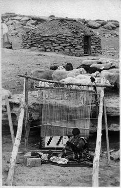 Navajo weaver working at loom  Photographer: William Pennington Date: 1911? Negative Number 035805