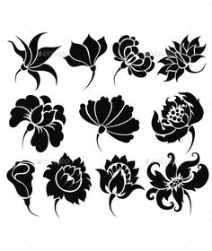 Flower Icon Set by ksyxa Flowers Symbol Stencil Patterns, Stencil Art, Stencil Designs, Embroidery Patterns, Flower Embroidery, Embroidery Thread, Flower Silhouette, Art Drawings Sketches, Tattoo Drawings