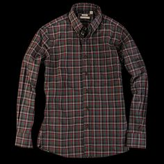 UNIONMADE - New England Shirt Company - Poplin Plaid in Green Black and Red Double