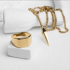 Feeling golden with our tungsten Lourd ring ($80) and Kunai pendant ($50) // worldwide shipping available // vitalydesign.com #vitaly #fashion #gold