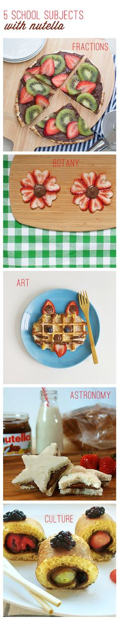 Teach your kids how learning can be both fun and delicious. Serve any of these 5 breakfast ideas with Nutella® and get your kids geared up for school before they step into the classroom. Take a bite out of fractions with a breakfast pizza, discuss botany over tasty flowers, create an individual waffle work of art, deliver astronomy in the form of star sandwiches and learn a different culture with the simple roll of a pancake. You're sure to give them a nice warm-up to their school day.
