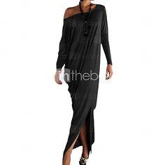 Mulheres Vestido Evasê Casual Sólido Maxi Assimétrico / Decote Cigano Algodão / Poliéster / Elastano de 4133534 2016