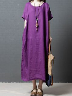 Casual Summer Dresses, Casual Dresses For Women, Outfit Summer, Dress Casual, Linen Dresses, Cotton Dresses, Maxi Dresses, Cotton Long Dress, Casual Looks