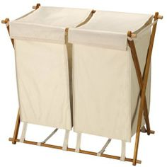 Household Essentials Folding Double Bag Laundry Hamper, Polyester Blend Wood X-frame double hamper 2 Removable washable bags with fabric lids Collapsible frame for easy storage Easy assembly: no tools required x x Wood Hamper, Wooden Laundry Hamper, Laundry Sorter, Laundry Storage, Laundry Room Organization, Storage Organization, Easy Storage, Laundry Rooms, Organizing Ideas