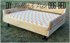 Using a pallet and a few pipe fitting pieces, this super easy and rather inexpensive raised doggie bed platform was born! In the summertime, my husband and I sw…