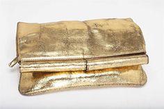 DVF Gold Metallic Leather 'Bonnie' foldover clutch