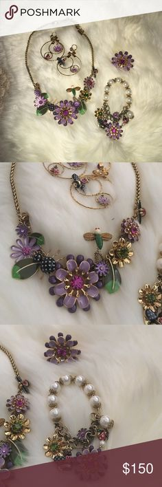 Betsy Johnson purple jewelry set! In beautiful condition! You can't buy in stores any more full set includes necklace bracelet hoops and ring! Great for collectors! Betsey Johnson Jewelry