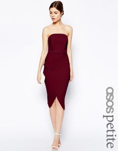 ASOS Petite | ASOS PETITE Asymmetric Wrap Bandeau Pencil Dress at ASOS
