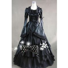 Black Long Flare Sleeve Gothic Colonial Period Wedding Ball Gown Dress SKU-304018