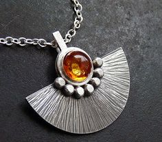Sterling silver necklace with amber   Sterling by Kailajewellery, £69.00