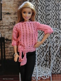 pink latice sweater (Its a Tiny World) Tags: crochet barbie diorama fashiondoll Barbie Clothes Patterns, Crochet Barbie Clothes, Clothing Patterns, Dress Patterns, Knitting Dolls Clothes, Knitted Dolls, Crochet Dolls, Crochet Barbie Patterns, Pull Rose