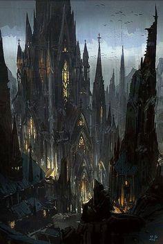 ideas for dark fantasy landscape rpg Fantasy City, Fantasy Castle, Fantasy Kunst, Fantasy Places, Fantasy World, Gothic Castle, Dark Castle, Medieval Gothic, Medieval Fantasy