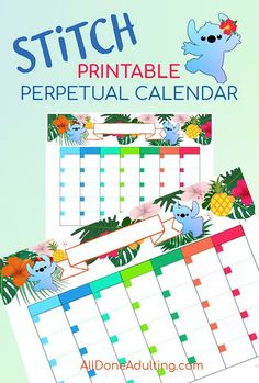 Bright tropical flowers and Disney's Stitch will brighten your days on this printable perpetual monthly calendar! Lilo and Stitch fans will love this cute perpetual calendar, perfect for Disney lovers. See all of the fun planner printables on All Done Adulting. #disneyprintables #stitchcalendarprintable #cutemonthylcalendar #disneycalendarprintable #printableperpetualcalendar #liloandstitchprintable Printable Banner, Gift Tags Printable, Printable Planner Stickers, Printable Calendars, Disney Calendar, Disney Countdown, Disney Diy, Disney Crafts, Planner Sheets