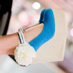 Free Shipping Women's Shoes Sweet Beads Ankle Strap Flower Wedge High Heel Pumps
