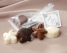 myweddingfavors.com  Chocolate Shell and Starfish Favor with Personalized Tag