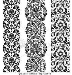 Vector - Jewish floral border - stock illustration, royalty free ...