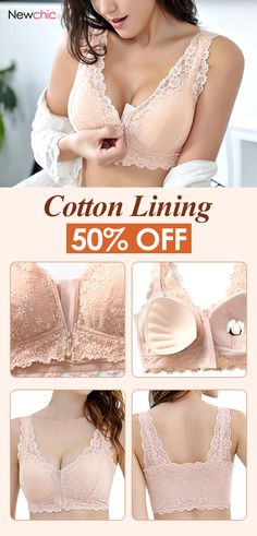 Front Zipper Cotton Lining Gather Wireless Soft Lace Comfort Embroidery Bra   bras  front  zipper  cotton  wireless  lace  comfy 9d6c30172