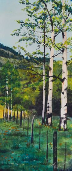 Aspen Along The Fence Line is a original by TerriRobertsonArt