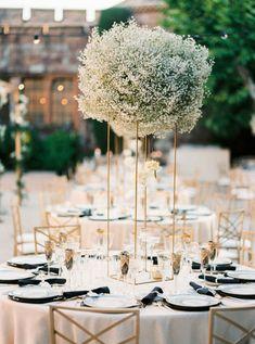 Glam French Riviera Wedding Sparkly Dress Wedding Pl, Floral Wedding, Gold Wedding, Table Wedding, Wedding Flowers, Tall Wedding Centerpieces, Wedding Decorations, Gypsophila Wedding, Wedding Ceremony Backdrop