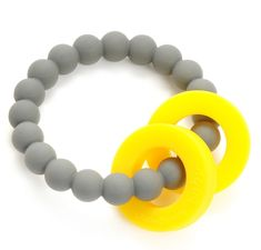 The Stormy Grey Mulberry Teether from Chewbeads is the perfect teething accessory for stylish moms and teething babies everywhere. The beads are 100% silicon and soft on baby's gums and emerging teeth. Plus the teether can be put in the dishwasher for fast and easy cleaning before heading out with baby.