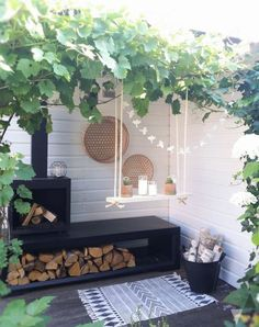 Small summer outdoor space with a swing
