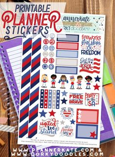 Free 4th of July Planner Stickers – Dorky Doodles