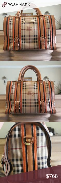 "RARE BURBERRY PRORSUM Hayward tan/mandarin I purchased this bag at an estate sale and haven't been able to find this color combo ANYWHERE. This is an authentic leather Burberry satchel. It does not come with the detachable shoulder strap. This is a used bag, but in really great condition. Please notice the handles have some wear and in the front by the buckles is some minor wear.  All in all, this is a gorgeous bag!! Length is 12.5"" and Heighth is 8.5"" both approx. Inside has minor marks…"