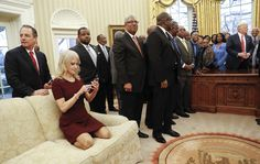 KellyAnne Sits on Couch while Officials from Black Colleges and Universities Visit the White House!