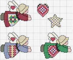 Schema punto croce Angeli Ornamenti