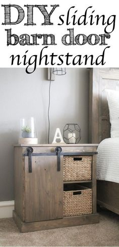 DIY: Making a bedside table with sliding door - Trendy Home Decorations Commode Diy, Diy Furniture, Diy Table, Diy Sliding Door, Home Decor, Diy Door, Home Diy, Night Table, Trendy Home