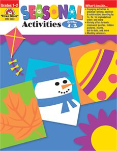 Seasonal Activities (Grades 1-2) This teacher resource book by Evan-Moor.com is filled with cross-curricular activities designed to practice a variety of basic skills (writing, computation, reading comprehension, vocabulary development, rhyming, skip counting, contractions, opposites).
