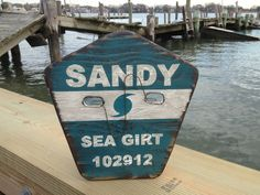 Hurricane Sandy Beach Badge Sign, Percentage Donated to Foodbank of Monmouth and Ocean Counties. $85.00, via Etsy.