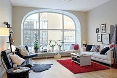Wohnzimmer-Designs mit einem hypnotisierendem Effekt - weißes Sofa