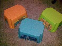 Home-Made Igloo/Hidey House- step stool with hanging cloth fringe