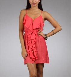 Tomato Coral Satin Summer Dress