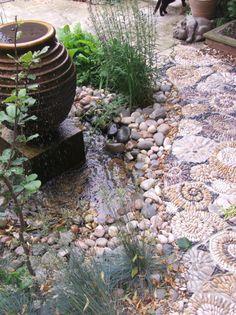 snail shell pebble path