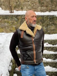 Leather Vest, Leather Jackets, Sheepskin Throw, Shearling Vest, Mens Attire, Advanced Style, Mature Men, Vintage Jacket, Diy Clothes