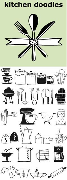 """Julia Child said, """"I didn't start cooking until I was 32: up until then I just ate"""". Whether you cook or eat, design menus or place cards or cookbooks this set of 30 fresh Kitchen Doodle illustrations makes the job easier. Baking, cooking, mixing, chopping, grating, this little font has it all. Bon Appétit!"""