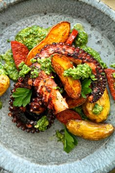 octopus with fingerling potatoes, chorizo and salsa verde  recipe