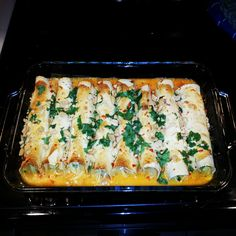 Thai Chicken Enchiladas  I made these and paired them with the Mango Coleslaw and White Wine Sangria. Delicious combination. These enchiladas are the perfect combination of sweet and spicy! #asian