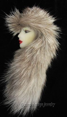 Vintage Old Porcelain Resin Enamel Lady Face Long Real Fur Hat Scarf Pin Fine Porcelain, Painted Porcelain, Porcelain Tile, Face Jewellery, Woman Face, Lady Face, Head Pins, Doll Head, Fur Trim